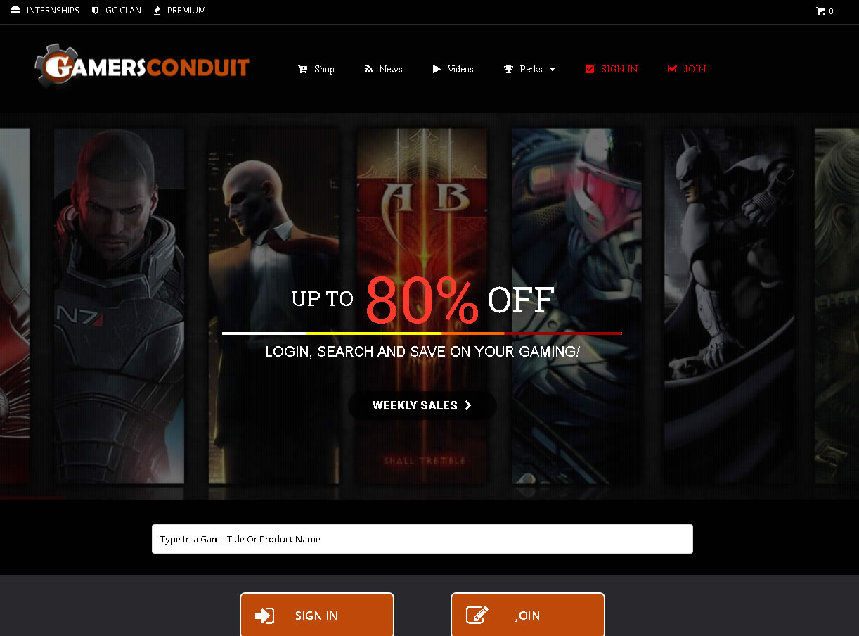 GC Main Page of GamersConduit site.