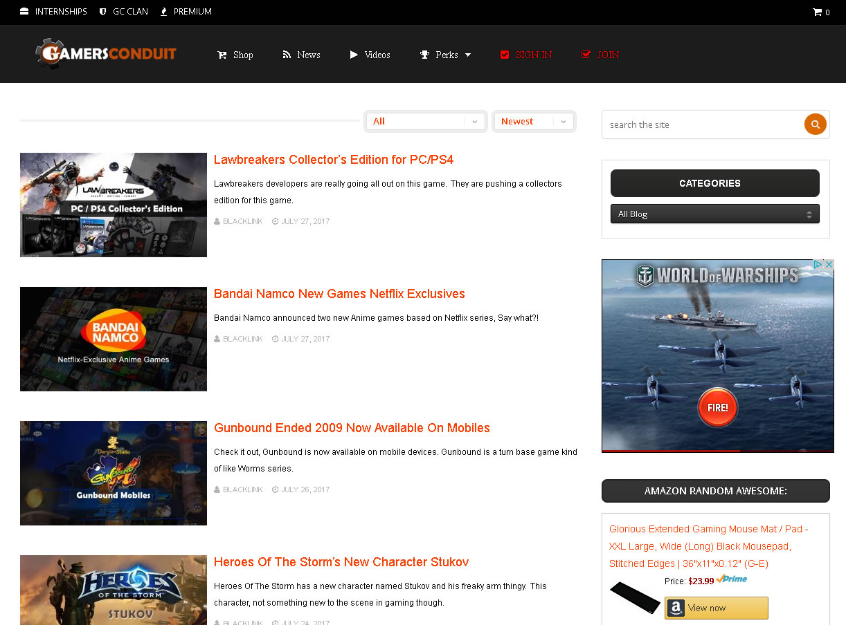 GC News Archive Page of GamersConduit site.